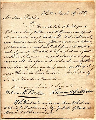First page of mill contract