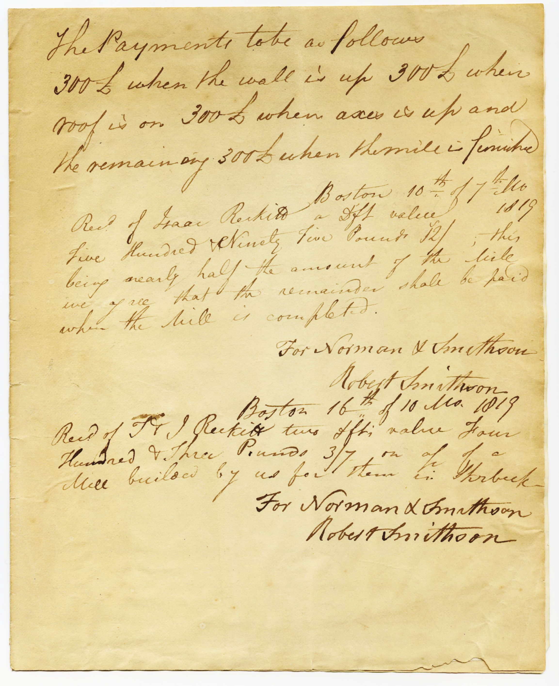 Second page of mill contract